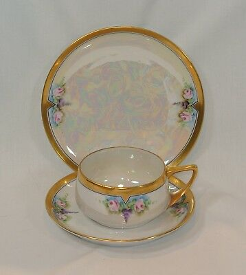 Antique THOMAS JORGENSEN Hand Painted Porcelain TRIO 3 Piece Set Artist Signed