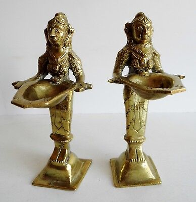 Pair Of Superb Old Indian / Middle Eastern Brass / Bronze Sculptures Of A Woman