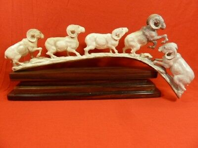 (Ram-1) Rams fighting ram of shed ANTLER figurine Bali detailed carving running