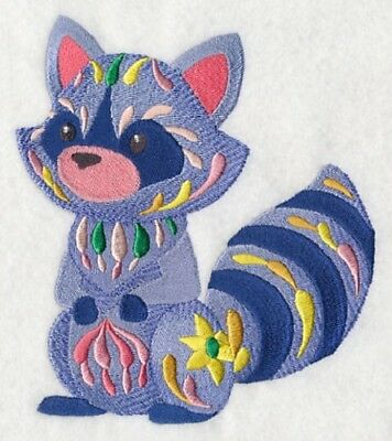Large Embroidered Zippered Tote - Flower Power Baby Raccoon M7030