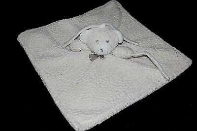Blankets & Beyond Bear White Gray Bow Sherpa Lovey Security Blanket Toy USED