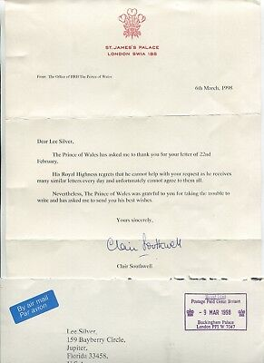 Letterhead ST JAMES PALACE 1998 refusal to send autograph PRINCE CHARLES w cover