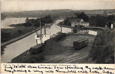 Dr Jim Stamps Us Postcard River And Canal Williamsport Maryland Air View 1906