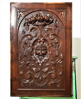 Devil Hand Carved Wood Panel Antique French Scroll Leaves Architectural Salvage