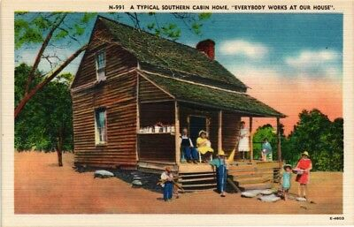 Dr Jim Stamps Us Postcard Typical Southern Cabin Home Family Outside Linen