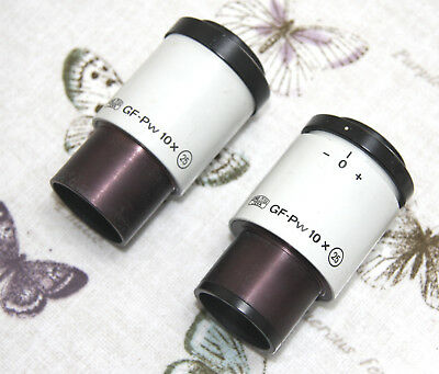 Pair Zeiss Jena Microscope Eyepieces GF-PW 10X 25 - 30mm Fit - Good condition