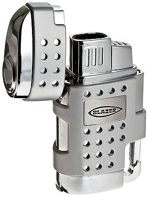 Blazer Silver EVO Dual Torch Flame Butane Lighter with Retractable Cigar Punch