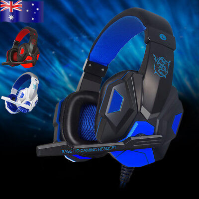 Pro Game Gaming Headset USB 3.5mm LED Stereo PC Headphone Microphone