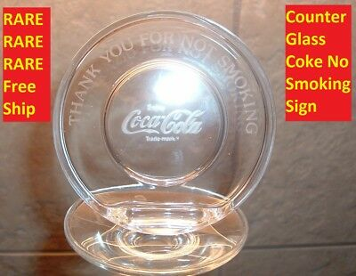 Antique Coca Cola Advertising Old Coke Store Display Glass NO SMOKING Coke Sign