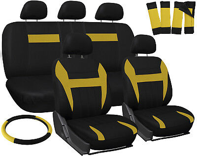 Car Seat Covers Yellow Black 17pc Set for Auto Steering Wheel/Belt Pad/Head Rest