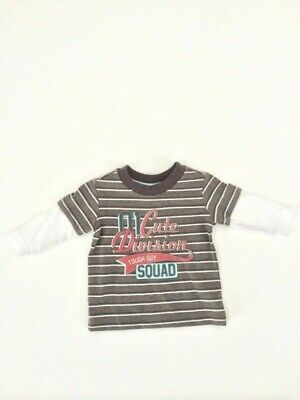 Baby Boys Grey Stripe '01 Cute Division Tough Guy Squad' Top Size 3-6 months New