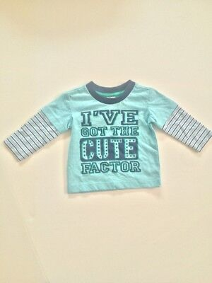 Baby Boys Blue 'I've got the cute factor' Long Sleeve Top Size 3-6 months New