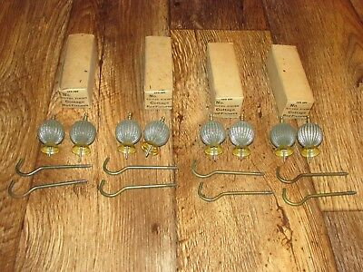 4 Boxes Of Vintage Silver Finish Cottage Rod Fixtures, New Old Stock, 2 Per Box,
