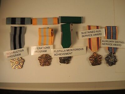5 Coast Guard auxiliary miniature medals & ribbons instructor, operations
