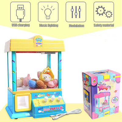 AU Mini Toy Claw Machine Arcade Game Candy Catch Grabber w/LED Light Music Gift