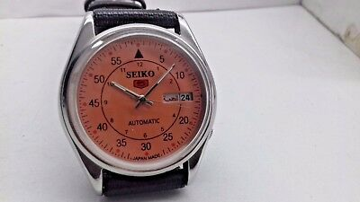 6309 Seiko 5 Day-Date Automatic Orange Color Dial Numeric Figure Working Watch