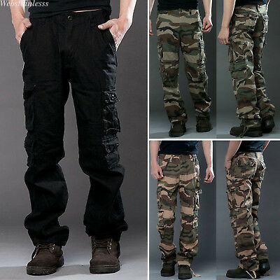Men's Camo Cargo Pants Tactical Combat Military Army Work Cotton Trousers Lot