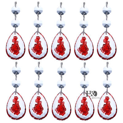 10PCS Crystal Red Rose Chandelier Lamp Prisms Beads Drop Home Decor Pedants50mm