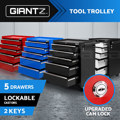 Giantz 5 Drawers Tool Box Chest Cabinet Trolley Boxes Garage Storage Toolbox