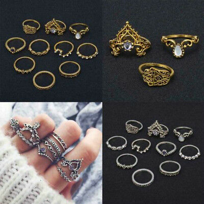 10Pcs/ Set Retro Arrow Moon Midi Finger Knuckle Rings Boho Fashion Jewelry Gift