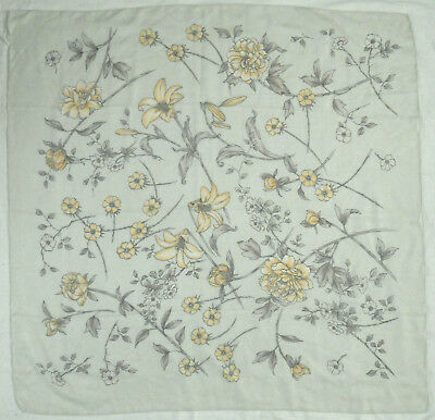 """PALE GREEN FLOATY FLORAL 34"""" SQUARE, 1970s VINTAGE SCARF"""