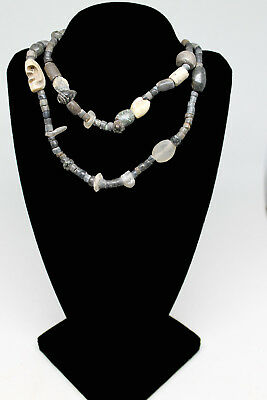 E.J. GOLD Ancient Neolithic SHELL Beads Antique Glass & Silver MUSEUM EXHIBITED!