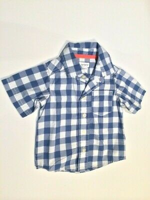 Baby Shirt Baby Boys Blue & White Check Short Sleeve Shirt Size 3 Months New