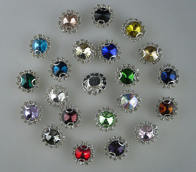 10mm glass crystal Faceted Round Jewels around clear rhinestones silver cup sew