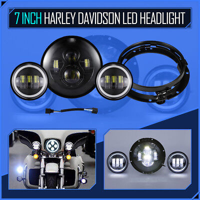 "Black 7"" Motorcycle Projector Headlight + 4.5"" Passing Light For Harley Davidson"