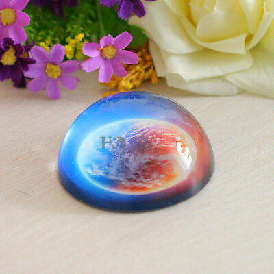 80MM Clear Crystal Ball Paperweight Half Sphere Earth Planet Ornament Gift