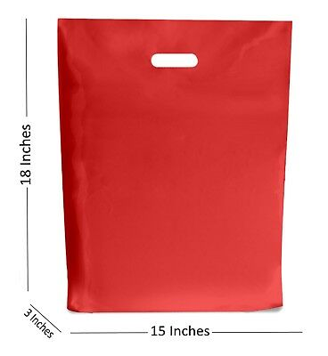 10 LARGE RED PLASTIC BAGS BOUTIQUE GIFT SHOP CARRIER BAG 15x18+3 INCHES