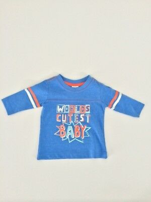 Baby Boy's Blue 'Worlds Cutest Baby' Top Size 0-3 months New