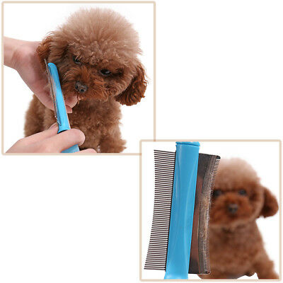 Blue 2 in 1 Pet Hair Removal Comb Silicone Stainless Steel Dog Message Brush