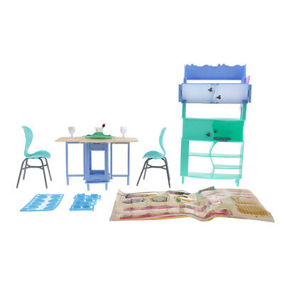 1:6 Scale Dining Room Table Chairs Furniture Kit for Barbie Doll Play Set