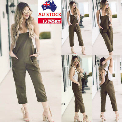 Women Summer Overalls Jumpsuit Playsuit Romper Casual Loose Bib Pants Dungarees