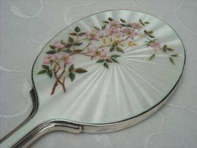 Fine Solid Silver Guilloche Enamel Pink Roses Hand Mirror London 1963