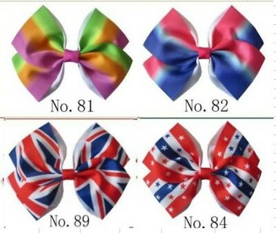 "20 BLESSING Girl 6.5"" Angel Hair Bow Clip Rainbow National Flag Hairbow"