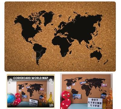 Corkboard world map wall hanging atlas cork memo board including corkboard world map wall hanging atlas cork memo board including pins 60 x 40cm gumiabroncs Images