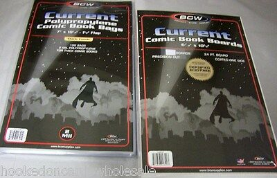 100 BCW 7' Thick Current Comic Book Storage Bags & 100 Backer Boards
