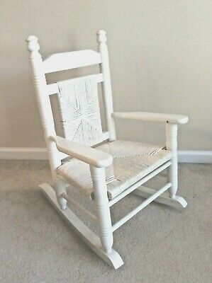 Woven Seat and Back Child Hardwood Rocking Chair White Cracker Barrel