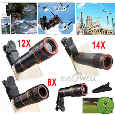 US 8X 12X 14X Zoom Phone Camera Telephoto Telescope Lens+Clip For iPhone Samsung
