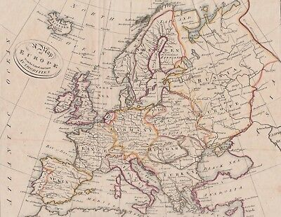 """1805 Antique Map - """"Europe from the latest and best Authorities"""" - Hand colored"""