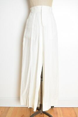 vintage 90s pants white linen high waisted wide leg trousers summer pants M