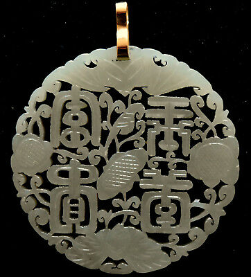 Chinese Handcrafted Celadon Jade Floral Pendant with 14K Solid Gold Bail