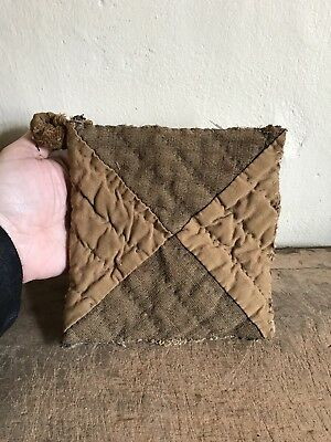 Early ALL BROWN Linsey Woolsey Antique Handmade Pot Holder Peg Rack AAFA Textile