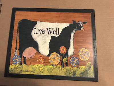 """LIVE WELL country primitive cow inspirational kitchen home decor wood sign 9x11"""""""