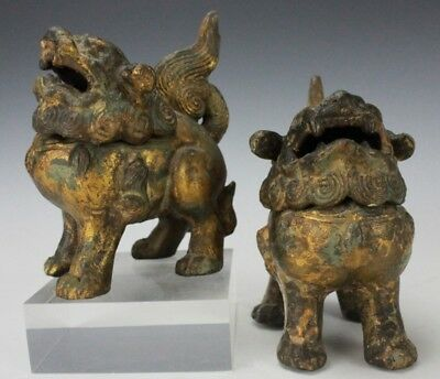 Rare Pair of Antique Cast Iron Chinese Asian Foo Dog Incense Burners BR5 NR