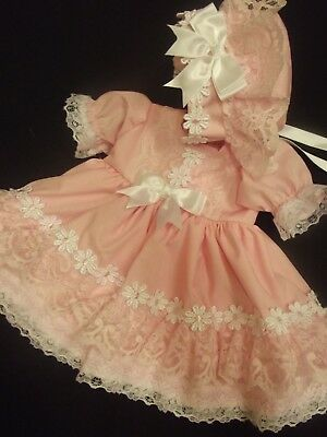 Dream Baby 0-18 Months White Pink Daisy Lace Dress F/lined Bonnet Or Reborn Doll