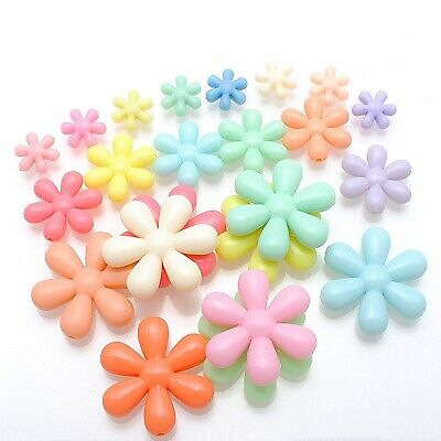 50 Mixed Pastel Color Acrylic Snowflake Flower Beads Charms 25mm