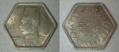1944 Egypt Silver Hexagonal Coin 2 Piastres King Farouk Uniformed Bust Left Unc